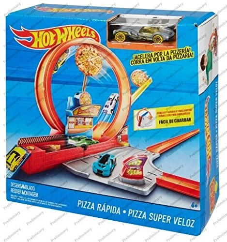 New Hot Wheels Speedy Pizza Track Set Toy Playset FTL88 Mattel
